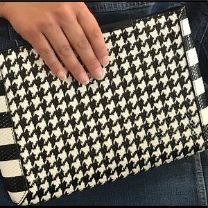 Handbags - J. Crew Textured Leather Houndstooth Clutch, NWOT